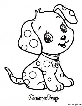 Printable CinnaPup Strawberry Shortcake Coloring Pages
