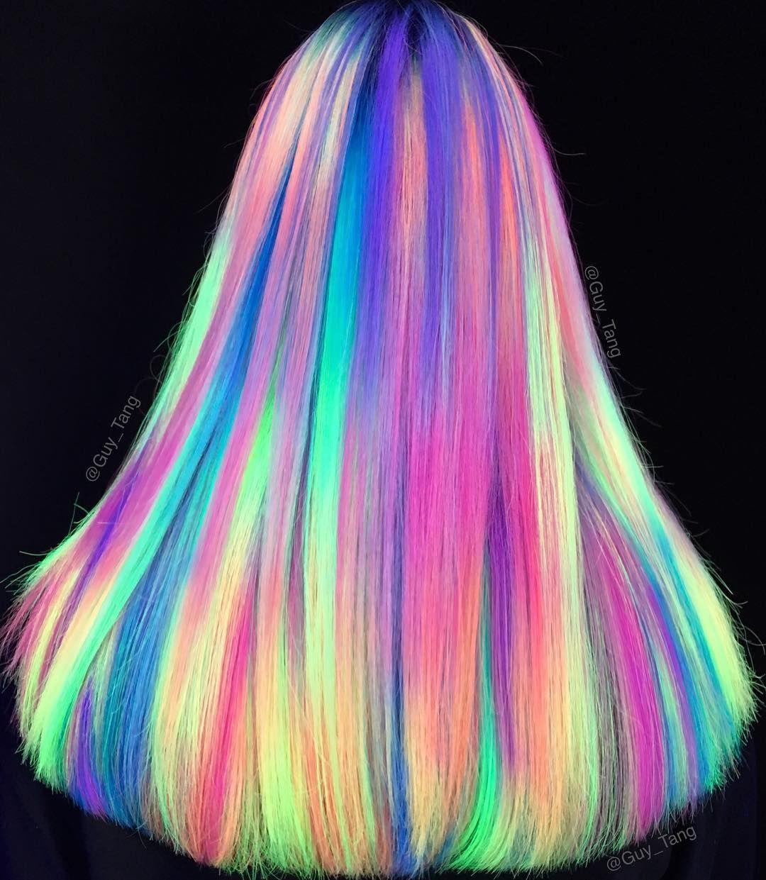 NEON Rainbow Hair by guy_tang Neon hair color, Neon