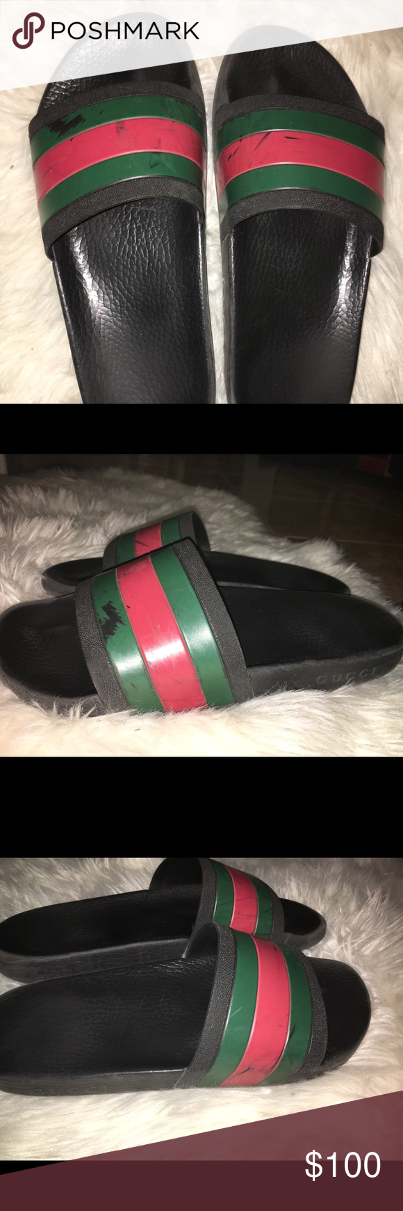 286c7a2bf42f32 Gucci Flip Flops Size 10 Men. Comes with the OG box. Has Scuffs but can be  easily refurbished. Price is Low due to wear. Gucci Shoes Sandals