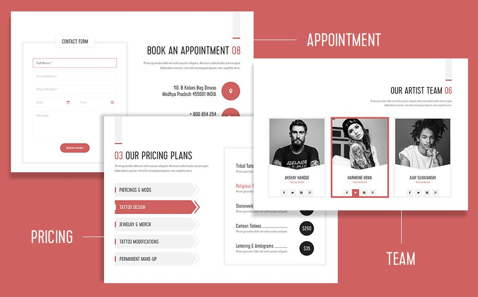 Tattoo Body Art Bootstrap Landing Page Template | logo design | Page