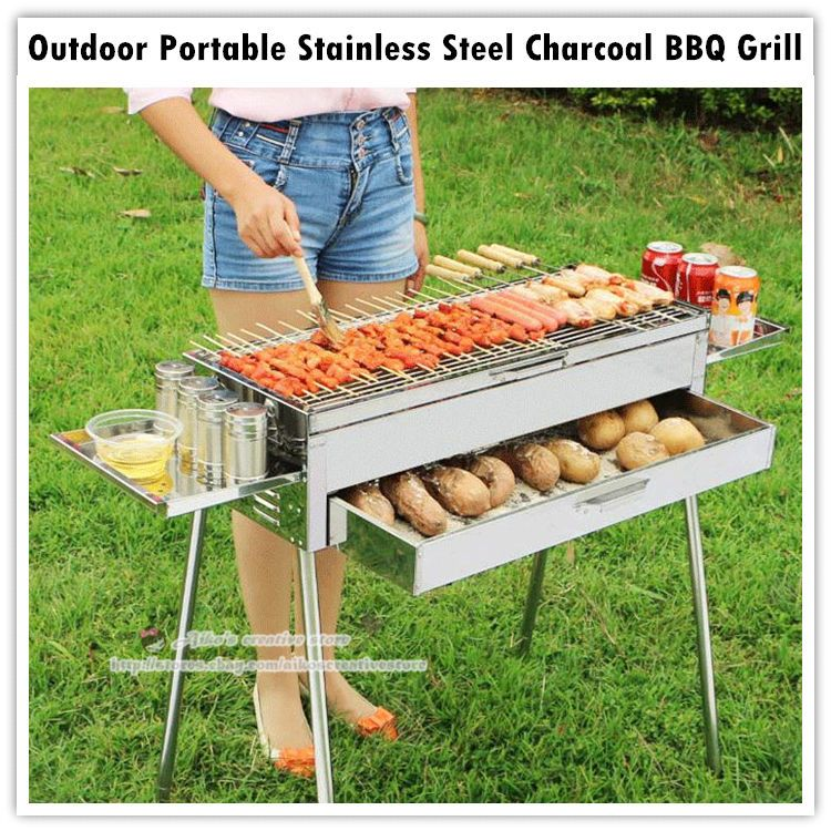 Multifunctional Portable Outdoor Stainless Steel Charcoal Bbq Grill Storage Bag Unbranded