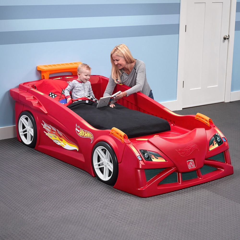 Hot Wheels Toddler To Twin Race Car Bed Red Kids Bed In 2021 Race Car Toddler Bed Race Car Bed Toddler Car Bed