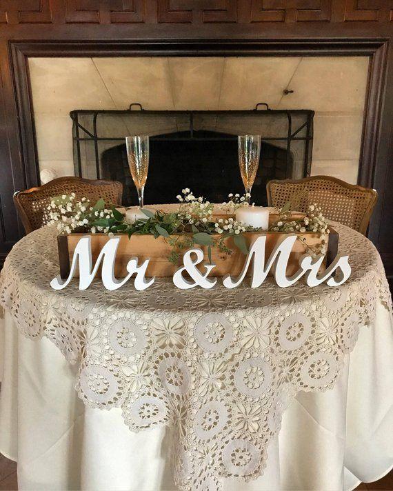 Rustic Wedding Decoration Ideas For Reception: Mr And Mrs Wedding Signs Table Decoration. Rustic Wedding