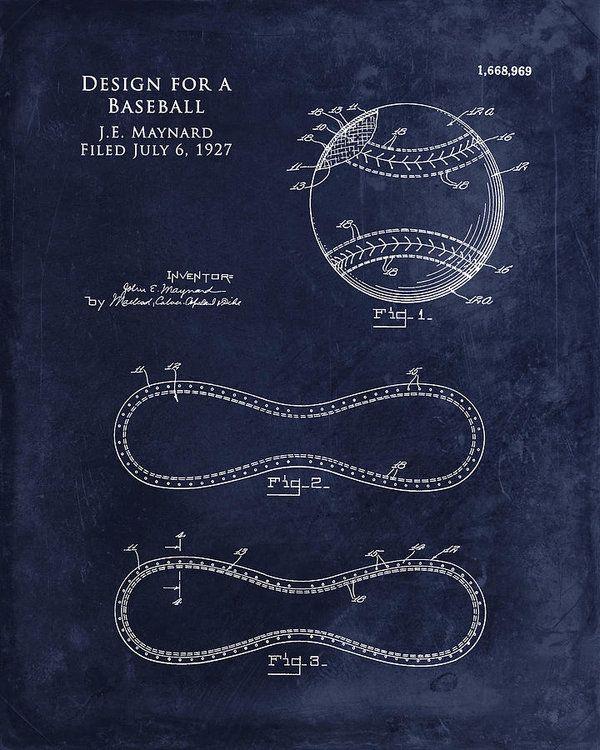 1927 Baseball Patent Print Baseball Blueprint Art Print Art Print by - new blueprint program online