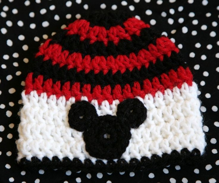 Crochet Disney Mickey Mouse hat your choice of size, boys mickey hat ...
