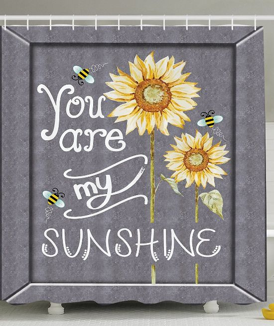 Gray And Yellow Sunflower Shower Curtain With A You Are My Sunshine Quote  Andu2026