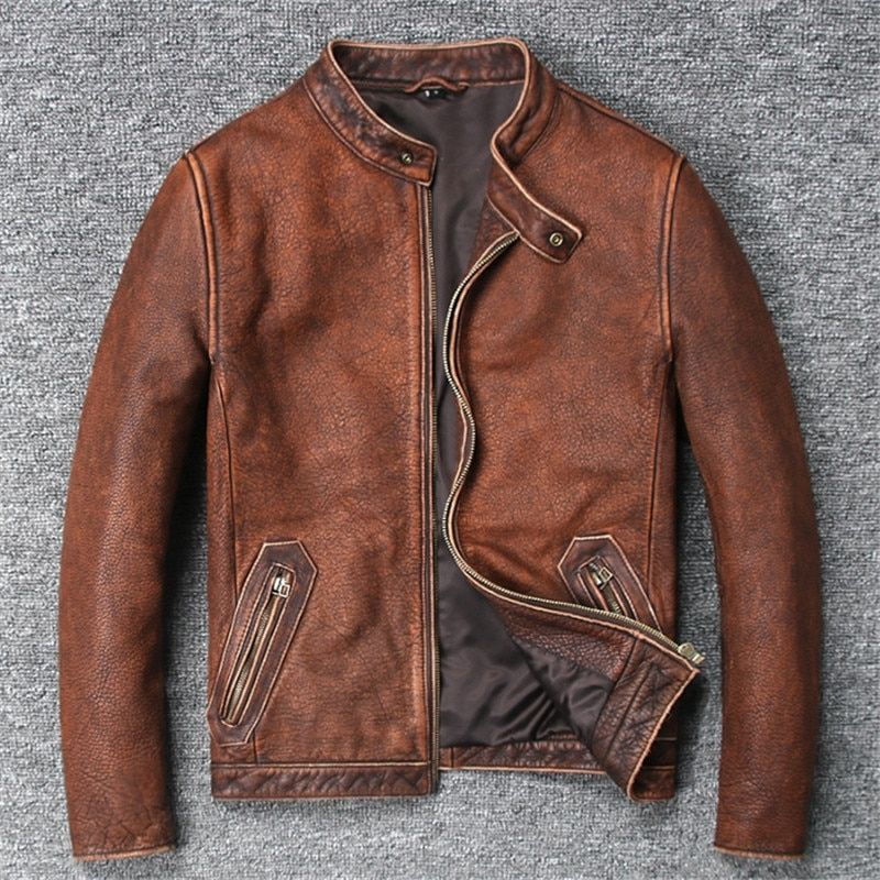 Biker jacket Fashion Pure Cow Leather Coat For Male Spring
