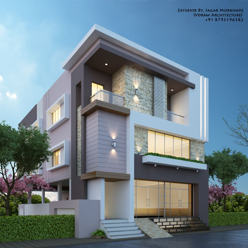 Modern Residential Exterior By Ar Sagar Morkhade: Modern House Bungalow Exterior By, Sagar Morkhade (Vdraw