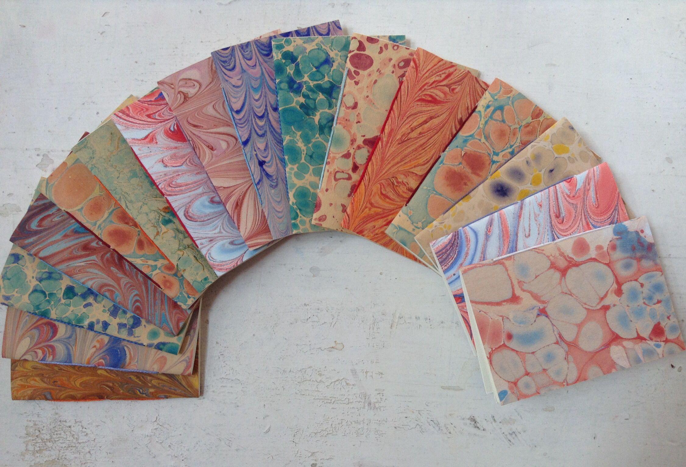 Minisketchbooks, marbling paper