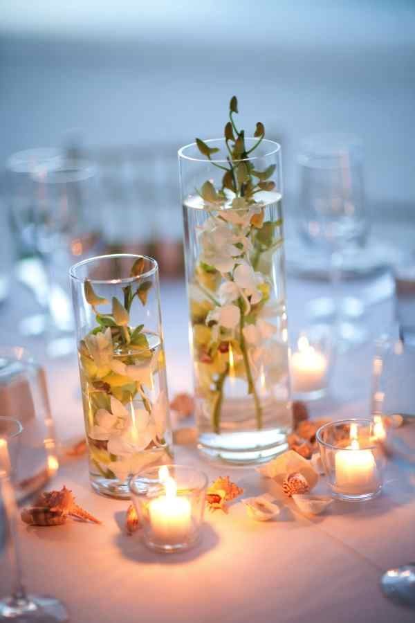 Eliza & Jeff: Elegant Occasions Beach wedding centerpieces Beach wedding reception Simple