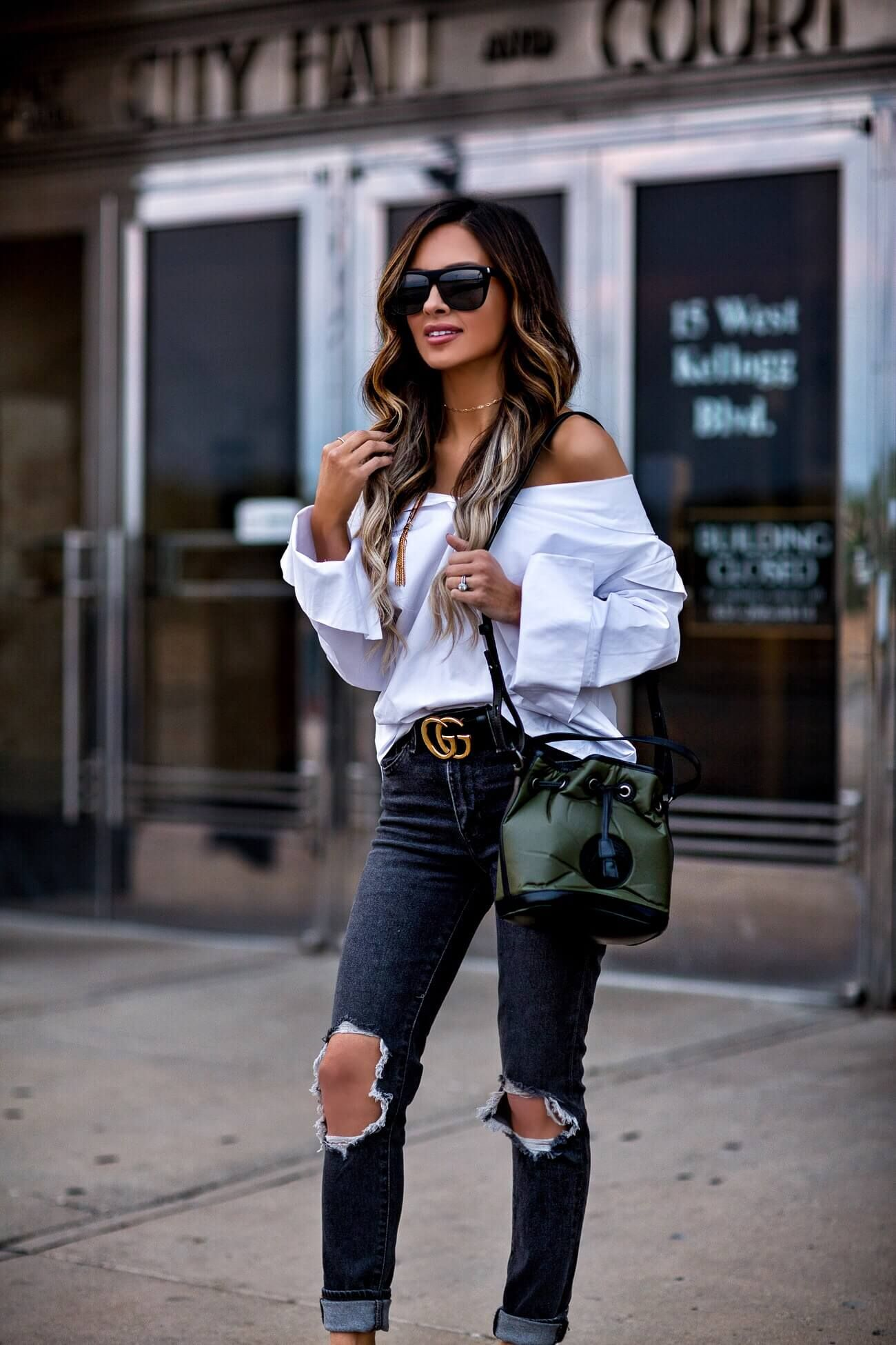 598298556acb fashion blogger mia mia mine in a white button down top and a gucci belt