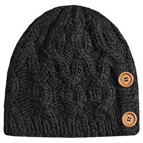 fd8c253295c Women s Fleece Lined Knit Beanie Hat with Button Detail