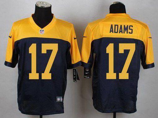 73eeb07de Men s Green Bay Packers  17 Davante Adams Navy Blue-Gold Alternate NFL Nike…
