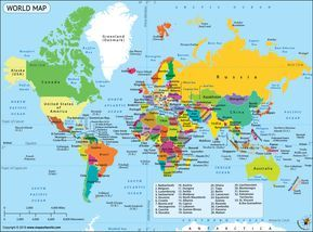 World Map, a Map of the World with Country Name Labeled