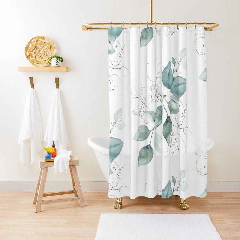 Watercolor Leaves Shower Curtain Nature Shower Decor Green Leaves And Branches Boho Design In 2020 Watercolor Shower Curtain Shower Curtains