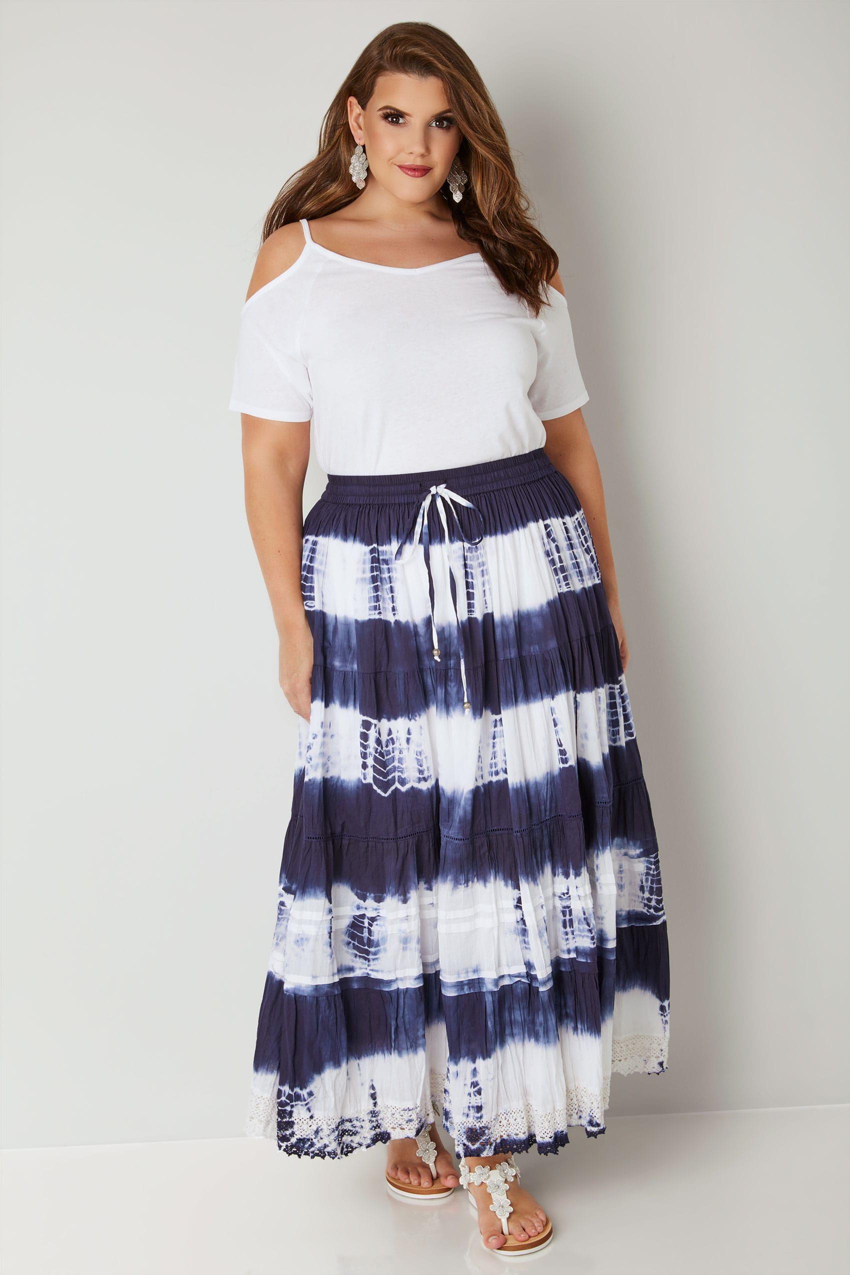 256b239c50275 White & Navy Tie Dye Tiered Maxi Skirt With Lace Trim Hem, Plus size 16 to  32