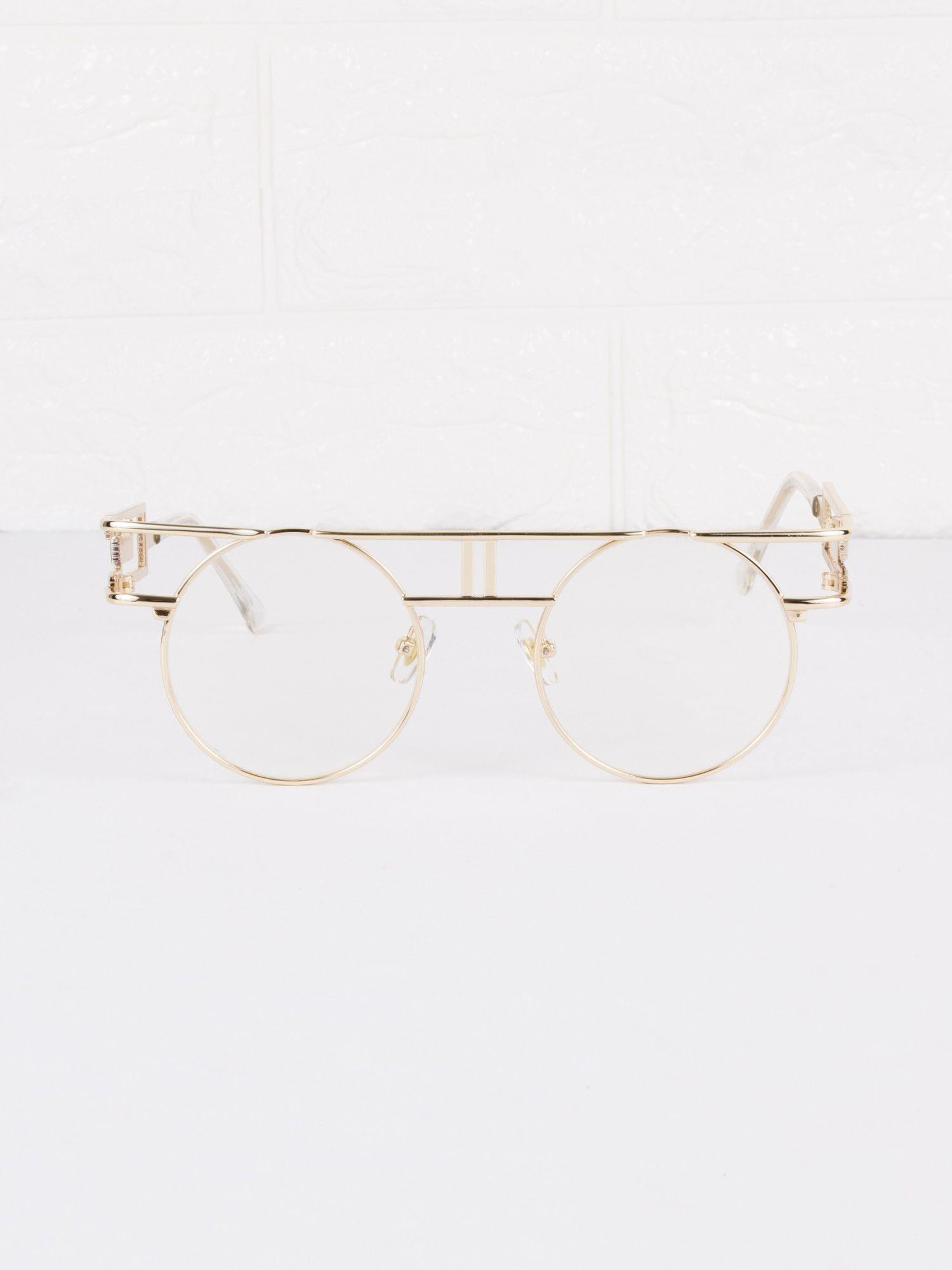 Round Circle Clear Lens Vanilla Glasses
