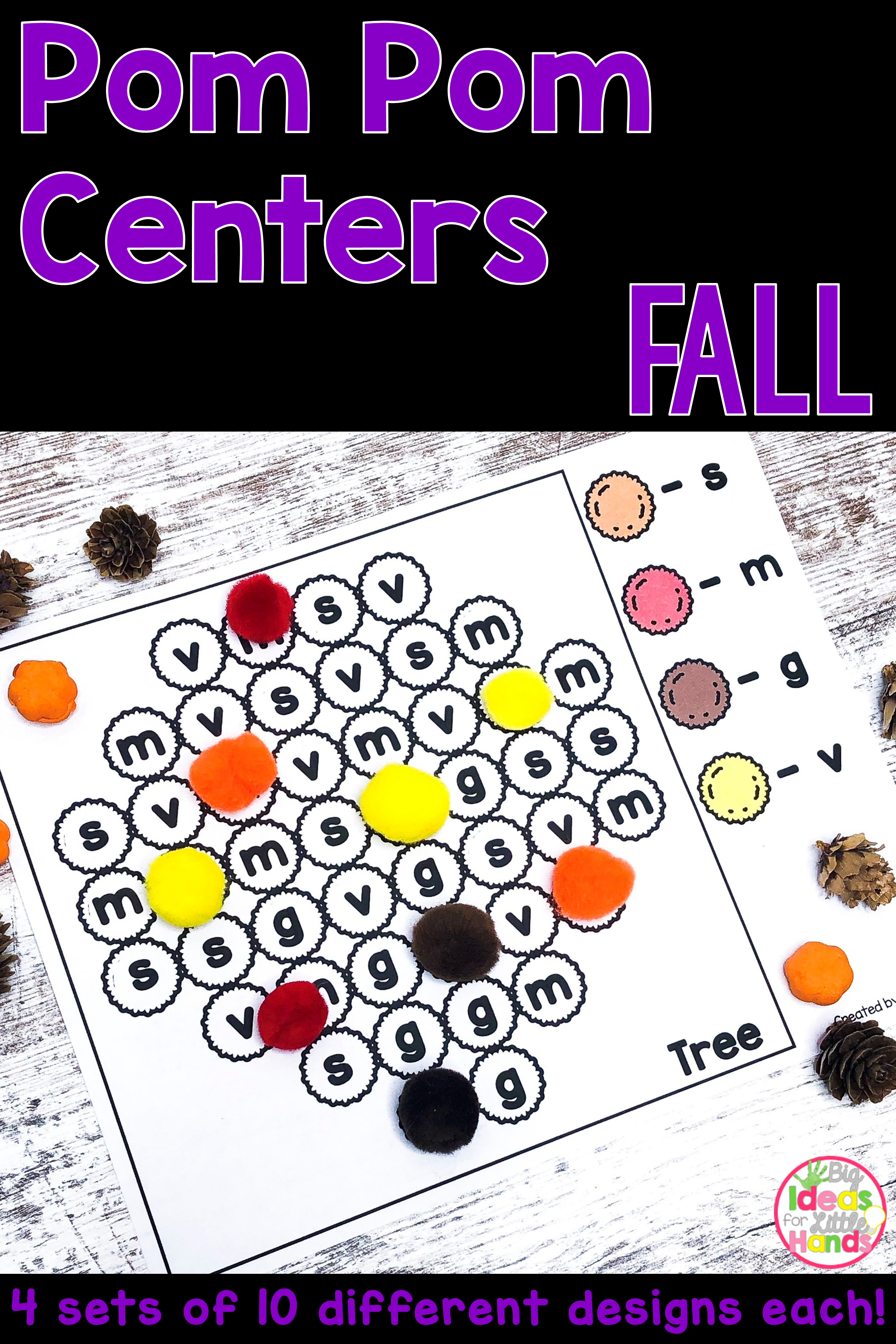 Fall Math And Literacy Pom Pom Activities With Images