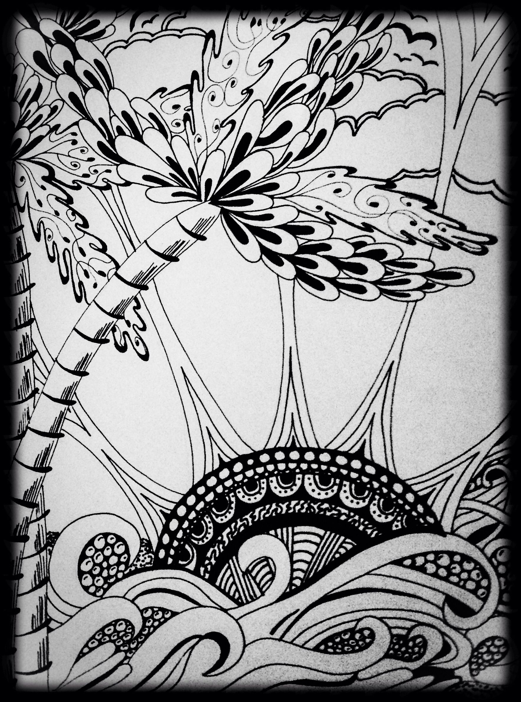 Tropical Zentangle Sunset Zentangle (With images ...