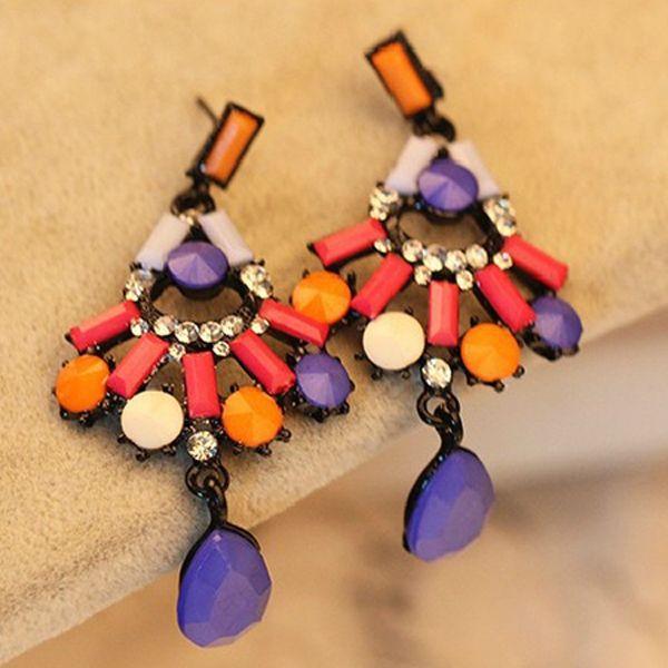 Beautiful Special Designed Colorful Gemstone Dangle Earrings