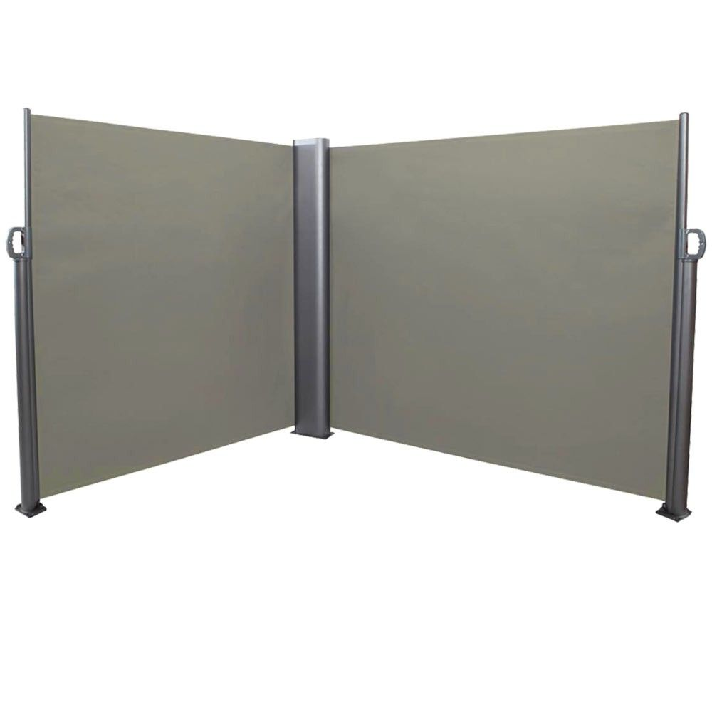 Sunnydaze Decor Corner Double Retractable Patio Sidewall Screen Divider 10 X 6 Gray Privacy Walls Sunnydaze Decor Hot Tub Privacy