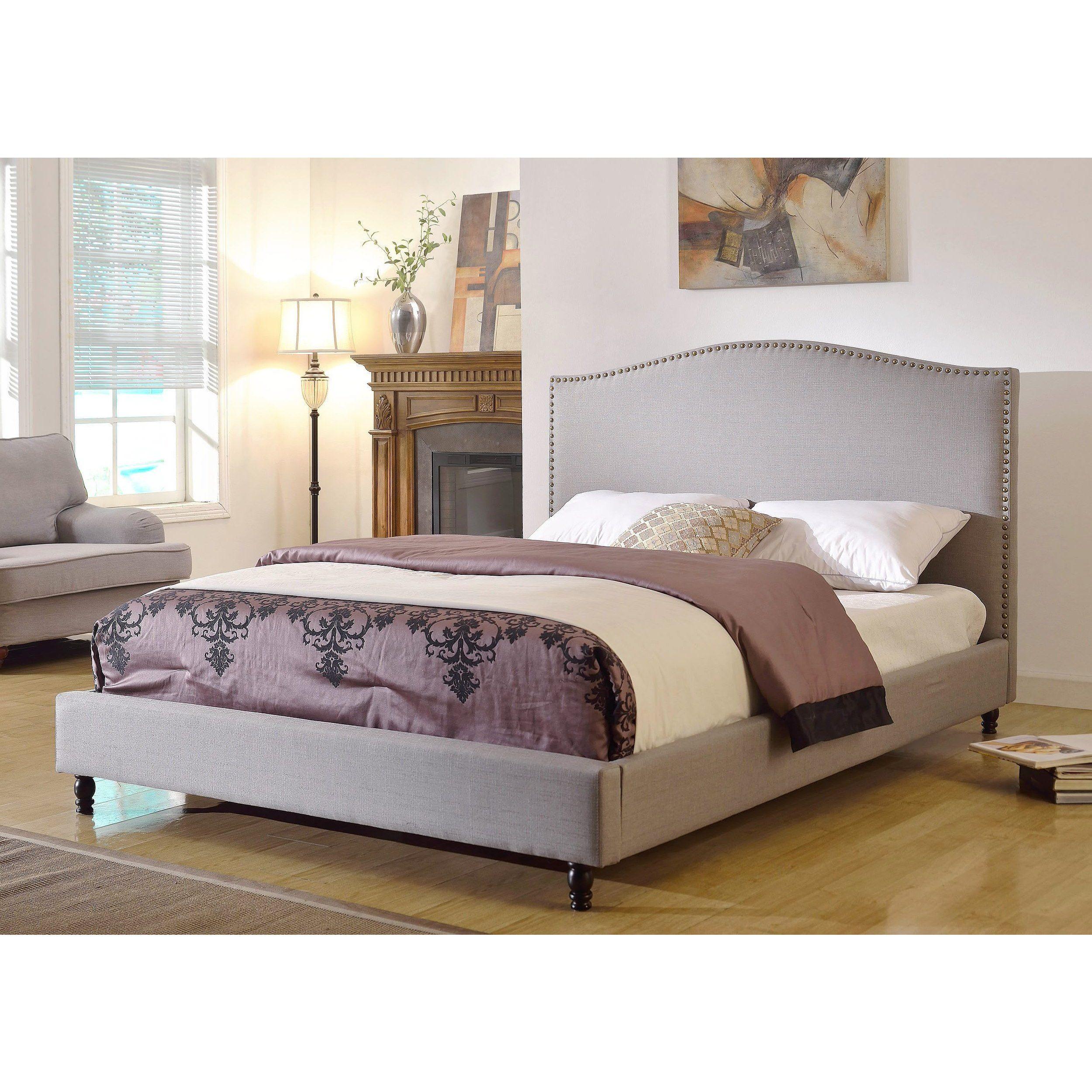 Abbyson Roxbury Grey Linen Platform Upholstered Bed (Queen)