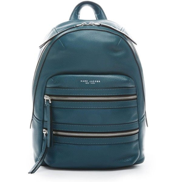 Marc Jacobs Leather Biker Backpack ($495) ❤ liked on Polyvore featuring bags, backpacks, blue leather bag, leather backpack bag, genuine leather backpack, leather knapsack and strap backpack