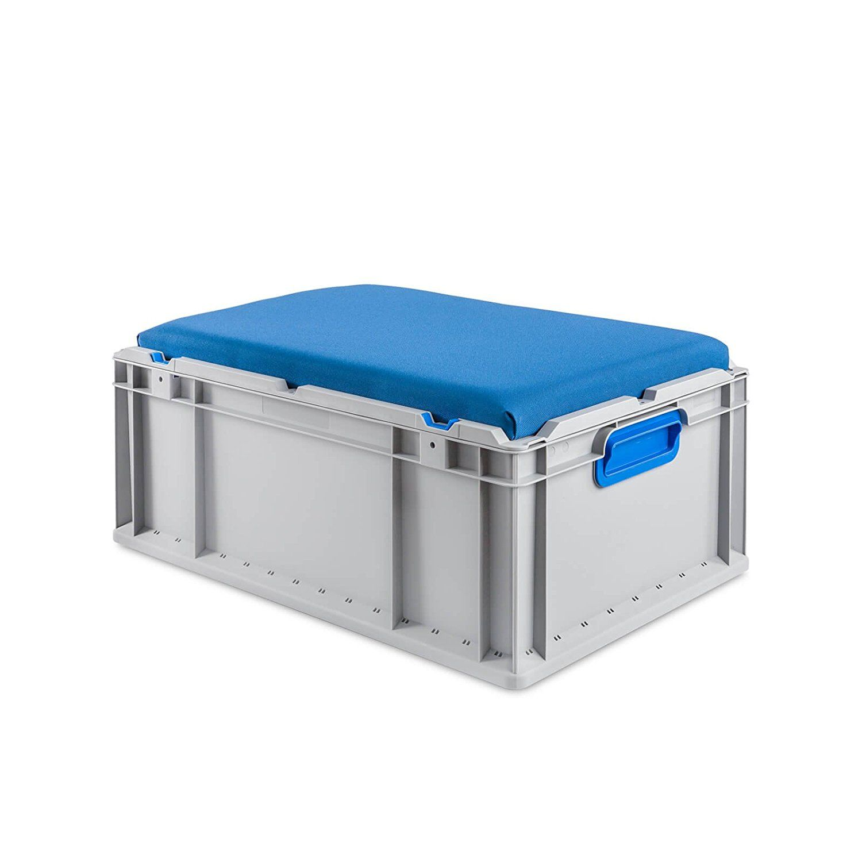 eurobox 60x40x22 mit deckel und sitzkissen werkzeug. Black Bedroom Furniture Sets. Home Design Ideas