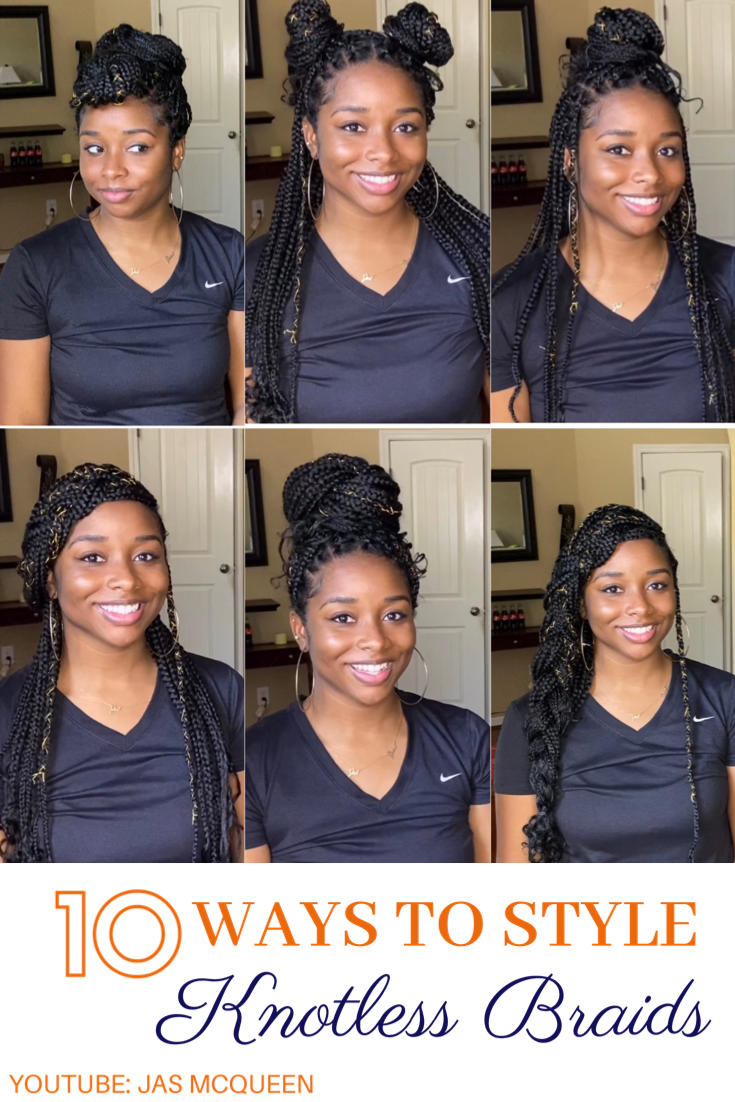 10 Hairstyle Ideas For Your Knotless Box Braids Braids Hairstyles Pictures Braided Bun Hairstyles Braided Hairstyles For Wedding