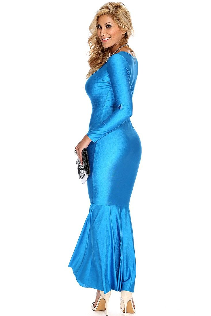236bd2a9e85 Bahama Blue Long Sleeve Sexy Flowy Maxi Dress | Shendelle Schokman ...