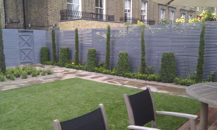 valla de acero color gris para el jardn - Valla De Jardin