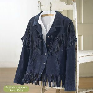 Blue Suede Fringe Jacket - Western Wear, Equestrian Inspired Clothing, Jewelry, Home Décor, Gifts