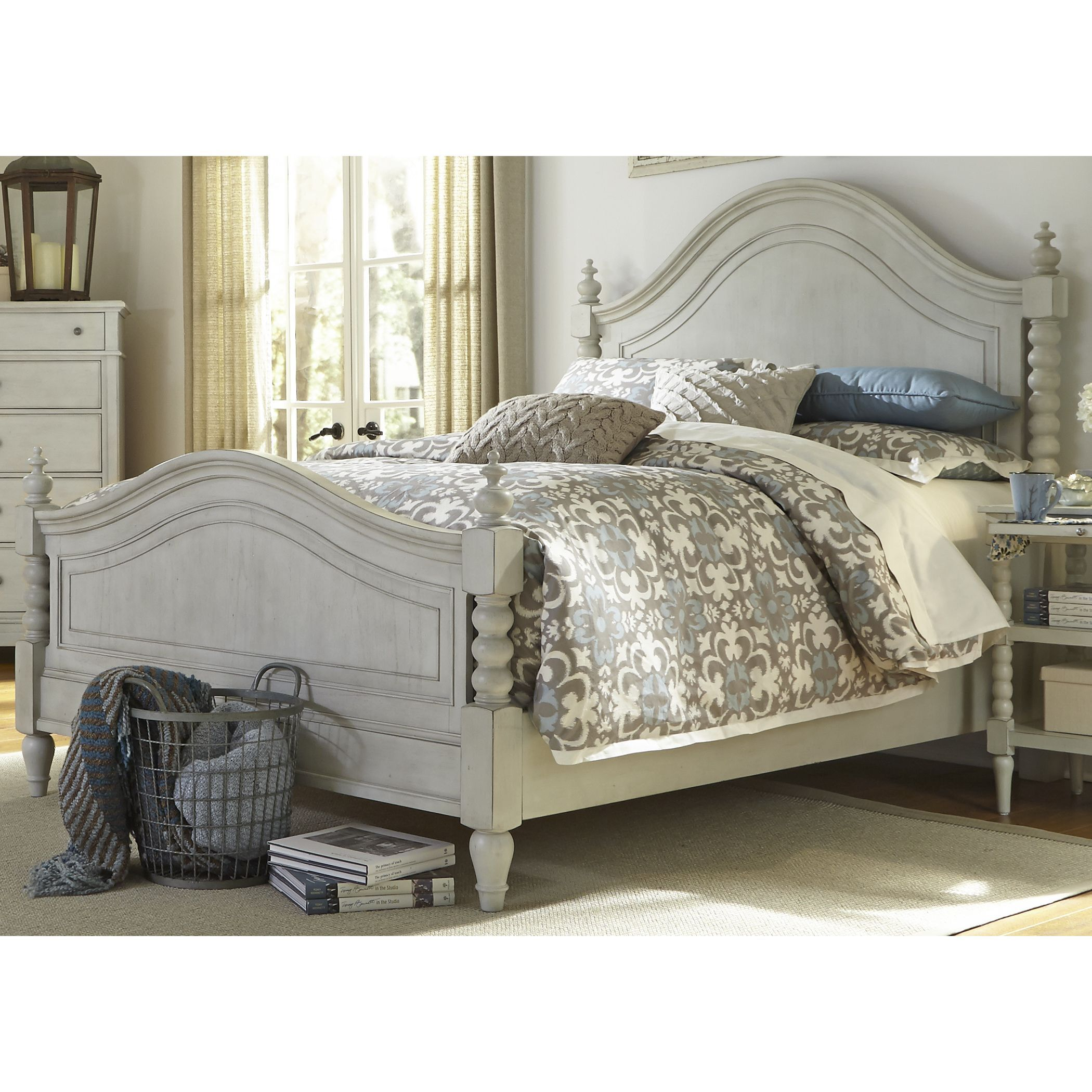 Harbor Dove Gray Cottage Twist Spindle Poster Bed (King ...
