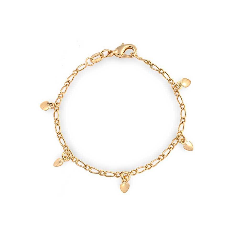 Bling jewelry gold filled girls children baby heart charm bracelet