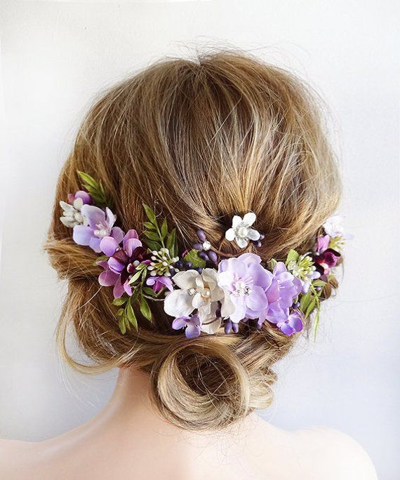 Lavender Flower Hair Wedding Style: Purple Hair Accessories, Purple Hair Piece, Purple And
