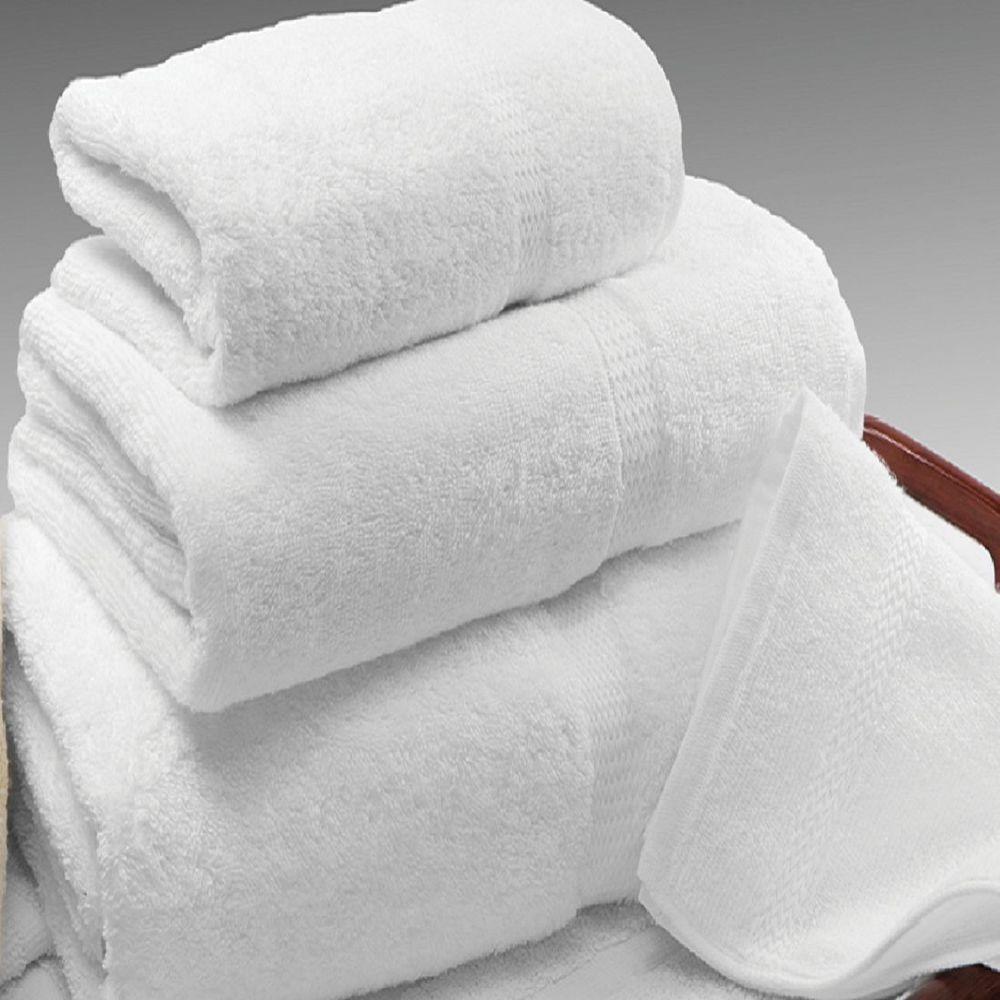 4 white cotton hotel bath towels large 27x54 *premium* dobbby border 17# dozen