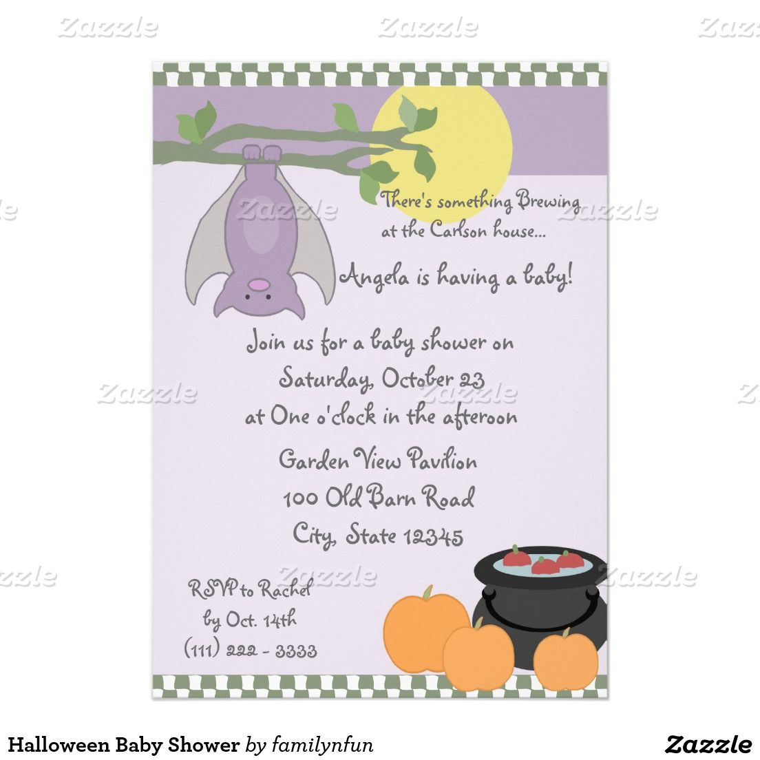Halloween Baby Shower 5x7 Paper Invitation Card | Halloween Baby ...