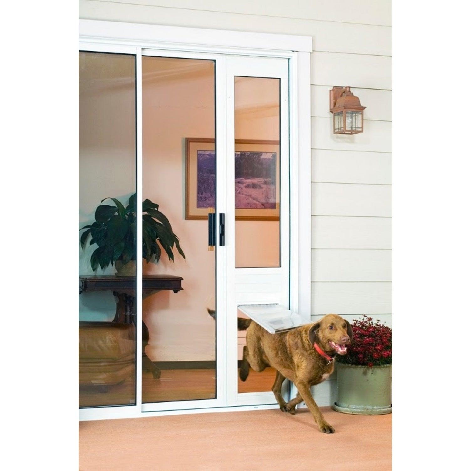 Endura Flapthermo Panel Large Flap Pet Door For Sliding Glass Doors Dark Bronze Frame As In 2020 Sliding Glass Door Sliding Glass Dog Door Pet Door Sliding Glass Door