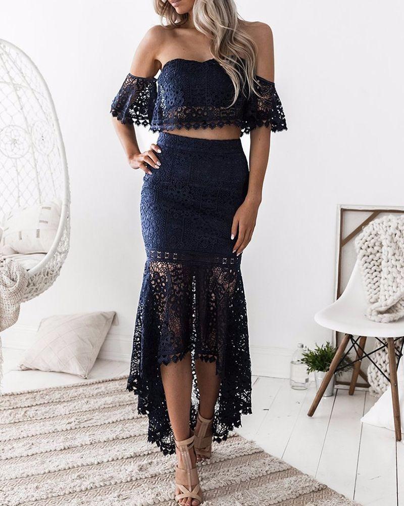 b848c50e3f Cheap 2018 conjunto de dos piezas Tops de encaje de hombro sirena falda  traje verano moda Ruffles faldas de encaje elegante Tops 2 unidades  conjuntos
