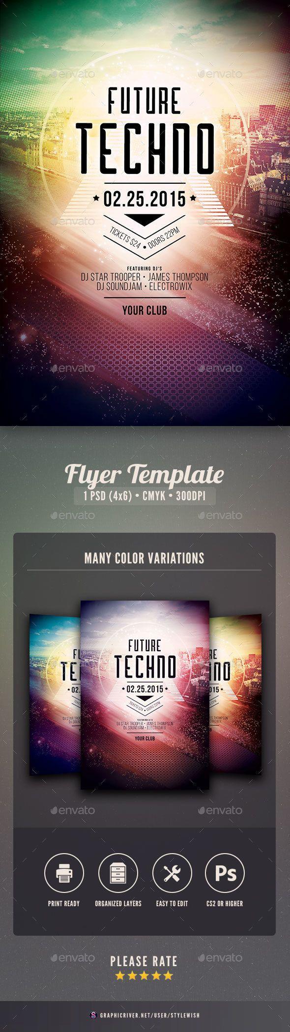 Future Techno Flyer | Techno, Flyer design templates and Concert flyer