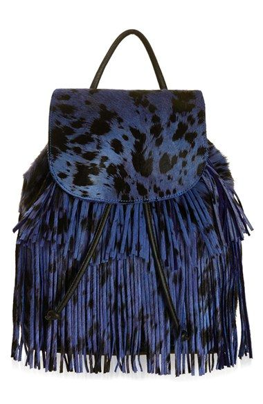 Topshop Fringe Genuine Calfskin Backpack available at #Nordstrom