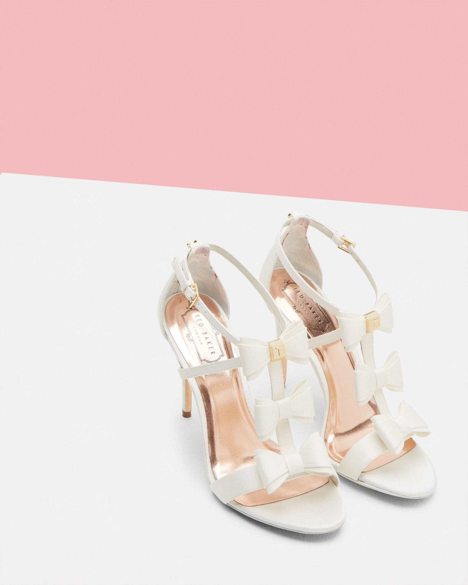 b1b37c287 Love these!  WedWithTed Triple bow detail sandals - White