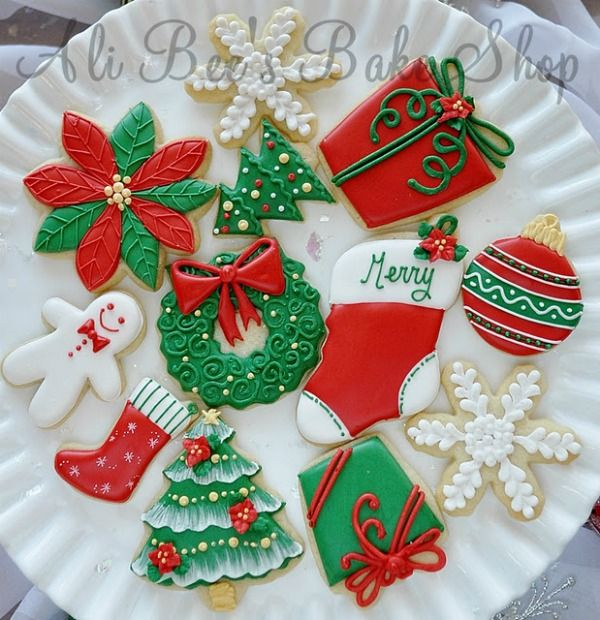 Christmas Cookie Decorating Ideas.Lovely Red White And Green Christmas Cutout Cookies Food