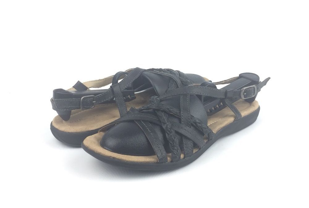 a9593b89f5a22 G.H. Bass   Co. Womens Santina Black Leather Sport Sandals Size 9  98   fashion