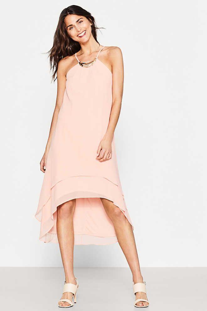 esprit / fijne chiffon jurk met langere achterkant | dresses