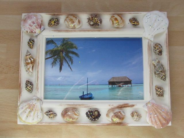 Caribean Holiday decorated cream picture frame-Sea Picture -frame 6 ...