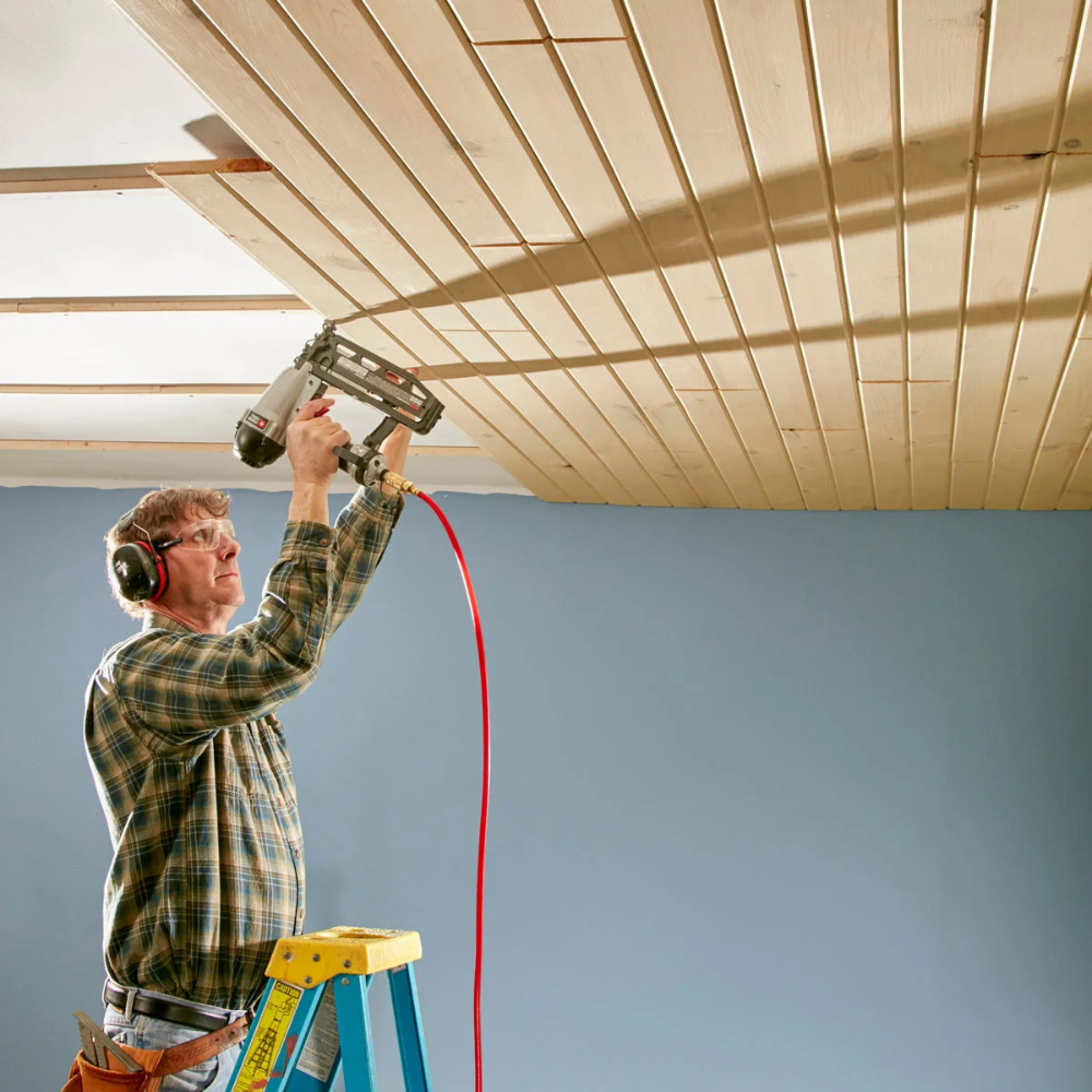 How To Install A Tongue And Groove Ceiling In 2020 Wood Plank Ceiling Tongue And Groove Ceiling Tongue And Groove Walls