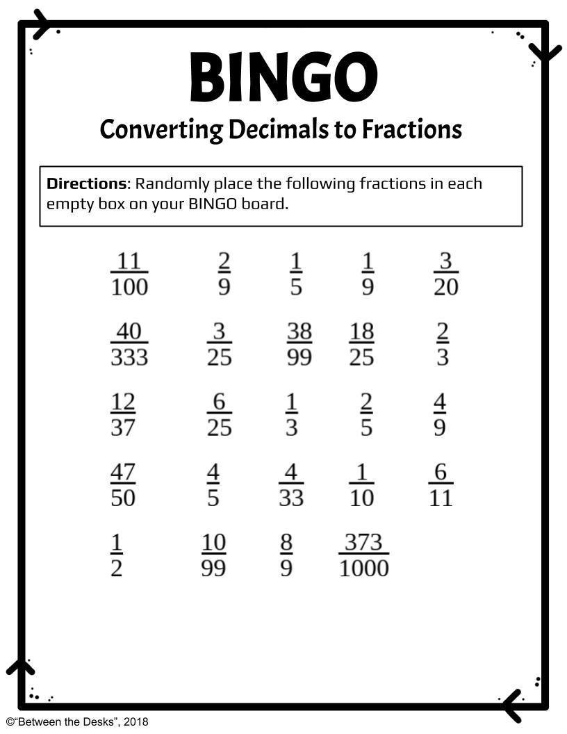 Converting Decimals To Fractions Bingo Decimals Repeating Decimal Fractions [ 1056 x 816 Pixel ]