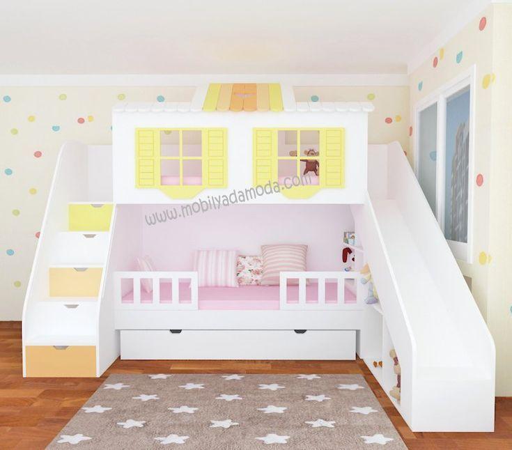 Hochbett Mit Rutsche Und Turm Weiss Hello Kitty Lila Ida