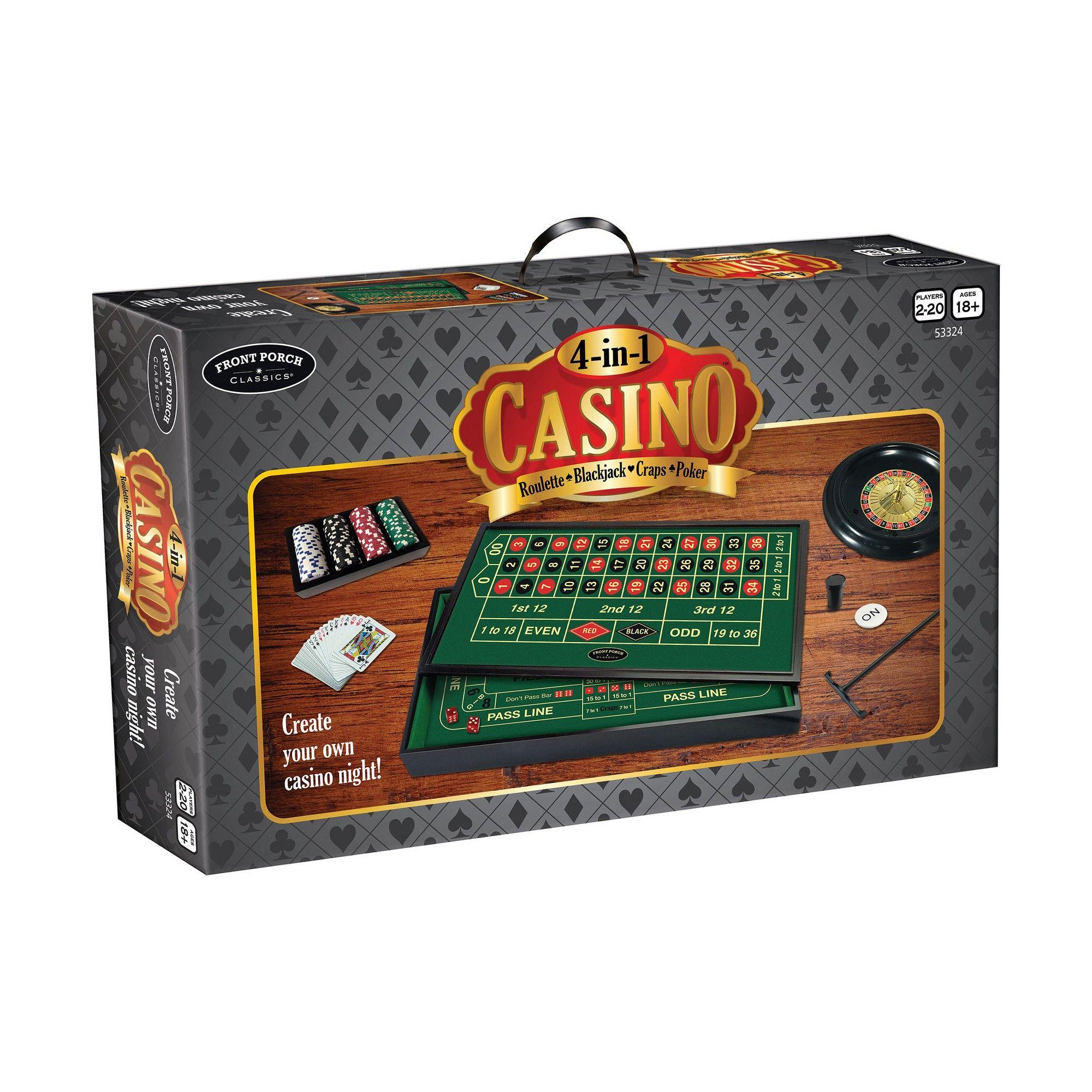 Front Porch Classics 4 in 1 Casino Roulette, Blackjack